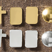 10k gold rectangle post earrings
