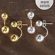 10k gold front back ball post earrings