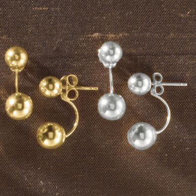 10K Gold Front/Back Ball Post Earrings