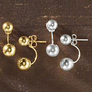 10k gold front back ball post earrings