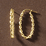 gold twist oval hoops