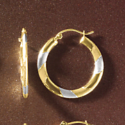gold two tone round hoops
