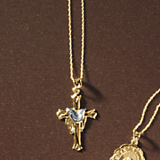 10k gold two tone draped cross pendant