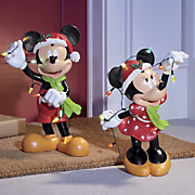 Lit Mickey and Minnie Statues