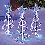 set of 3 christmas tree stakes