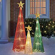 set of 3 christmas lantern trees
