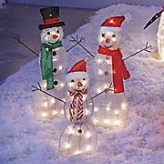 set of 3 lit snowmen