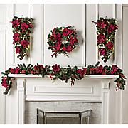 poinsettia wreath  teardrop and garland