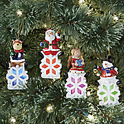 set of 4 lit snowflake ornaments