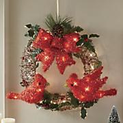 lit cardinal wreath