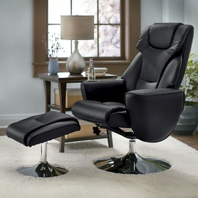 Leisure Chair and Ottoman with Metal Base