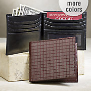 men s checkered leather wallet