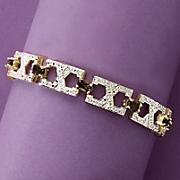 smokey quartz two tone x bracelet with diamond accent