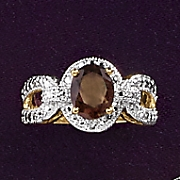 smokey quartz and diamond oval ring