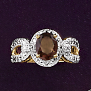 smokey quartz and diamond oval ring