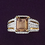 smokey quartz and diamond emerald cut ring