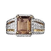 smokey quartz and diamond emerald cut ring