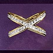 white topaz open x ring