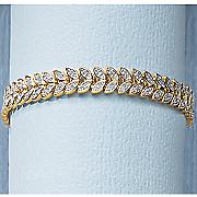diamond two tone leaf bracelet