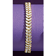 diamond two tone leaf bracelet