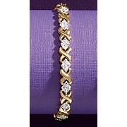 diamond two tone x bracelet