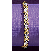 diamond two tone x bracelet