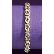 diamond two tone criss cross bracelet