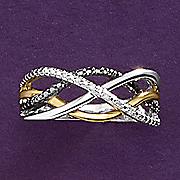 diamond two tone swirl ring