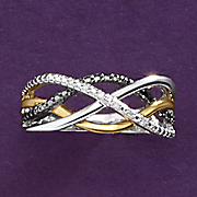 diamond two tone swirl ring
