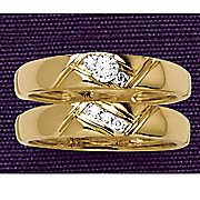 10k gold criss cross diamond bridal set