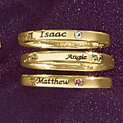 stackable name birthstone ring
