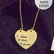 name heart necklace with birthstone