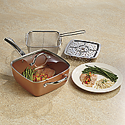5 pc  cookware set by copper chef   as seen on tv