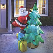 inflatable santa and tree