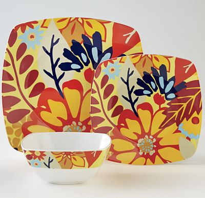 12-Piece Square Melamine Floral Dinnerware Set