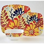 12 pc  square melamine floral dinnerware set