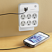 6 outlet surge protector with 2 usb charging ports by ge