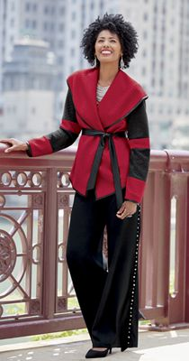 Tiegan Wrap Jacket and Wide Leg Pant