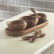 set of 7 acacia wood condiment tray