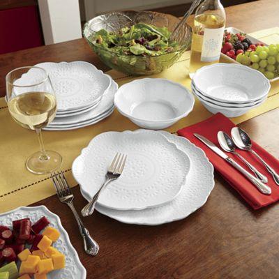 12-Piece Embossed Melamine Dinnerware Set