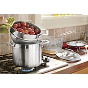 5 pc  heavy guage brushed stainless steel pot set