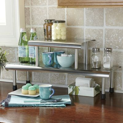 Brushed Stainless Steel 2-Tier Shelf