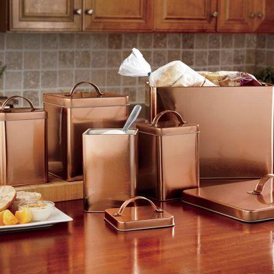5-Piece Coppertone Canister & Breadbox Set