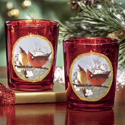 3-Piece Set of Red Metallic Cardinal Votives