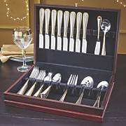 gold accented newcastle flatware set with chest by pfaltzgraff