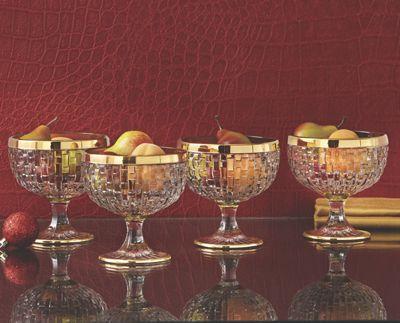 Set of 4 Gold Rim Ice Cream Cups