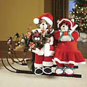 musical bear couple on sleigh