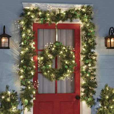 6-Piece Pine Lighted Faux Greenery Set