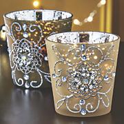 set of 2 gilded lights votives