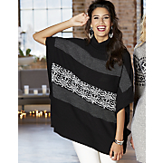 mix pattern poncho